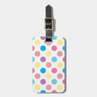Soft Pastel Colors Polka Dots Pattern Luggage Tag