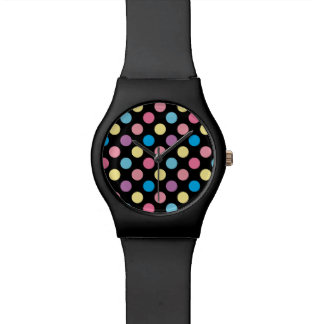 Soft Pastel Colors Polka Dots Pattern Watch