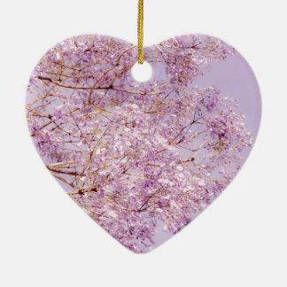 Soft Pastel Floral Branches Ceramic Heart Decoration