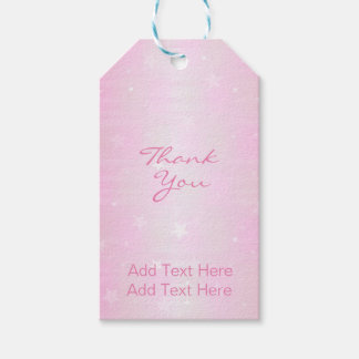 Soft Pastel Pink Ombre Stars Twinkle Baby Girl Gift Tags