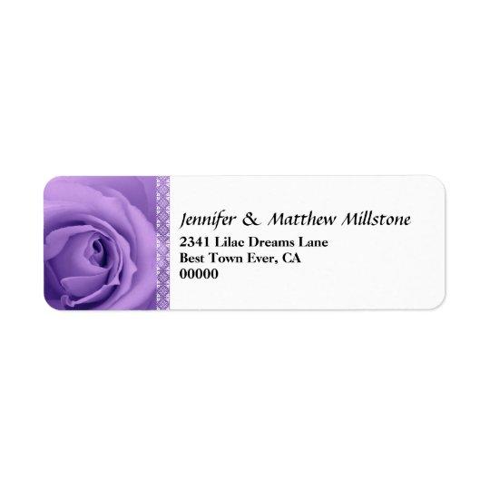 Soft Pastel Purple Rose with Lace Trim Wedding Return Address Label