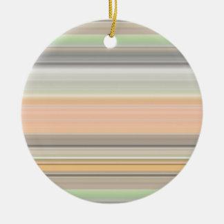 Soft Pastel Stripe Pattern Round Ceramic Decoration