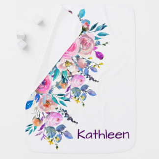 Soft Pastel Watercolor Floral Design Baby Blanket