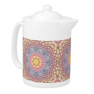 Soft Pastels Kaleidoscope   Colorful Teapots