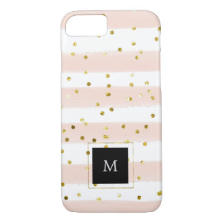 Soft Peach and White Watercolor Stripes with Gold iPhone 8/7 Case