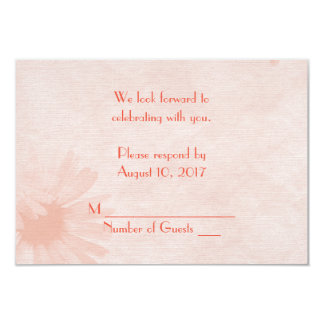 Soft Peach Daisy RSVP 9 Cm X 13 Cm Invitation Card