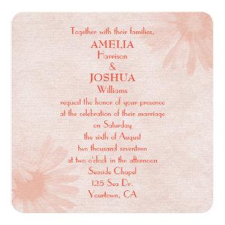 Soft Peach Daisy Wedding Invitation