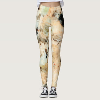 Soft Peach Gray Marble Yoga Running Workout Leggings
