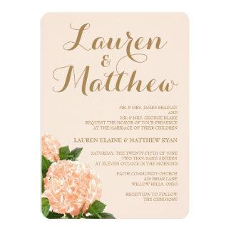 Soft Peach Hydrangea Wedding Invitation