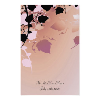 Soft Peach Pastel Tree Leaves Wedding Customized Stationery