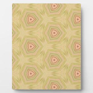 Soft Peach Yellow Modern Chic Fractal Pattern Plaque
