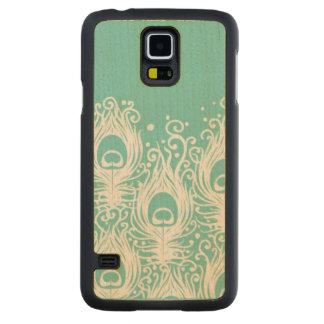 Soft peacock feathers carved maple galaxy s5 case
