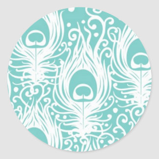 Soft peacock feathers classic round sticker
