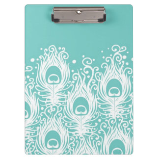 Soft peacock feathers clipboard