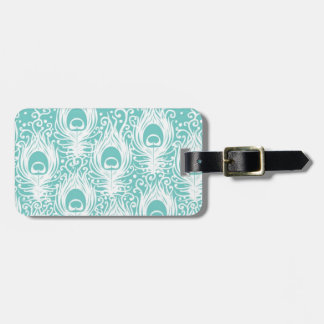 Soft peacock feathers luggage tag