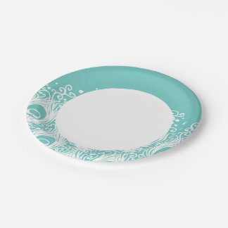 Soft peacock feathers paper plate