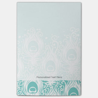 Soft peacock feathers post-it notes