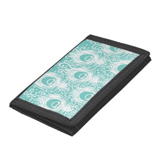 Soft peacock feathers tri-fold wallets