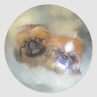 Soft Pekingese Duo Classic Round Sticker