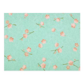 Soft Petals Peach & Aqua Postcard