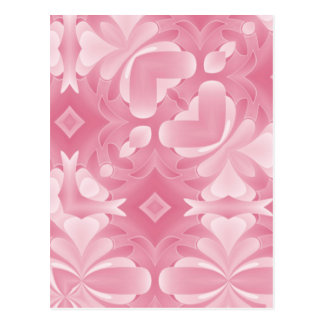 Soft Pink Abstract Hearts and Diamonds Postcard