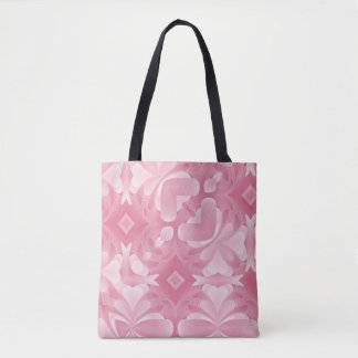 Soft Pink Abstract Hearts and Diamonds Tote Bag
