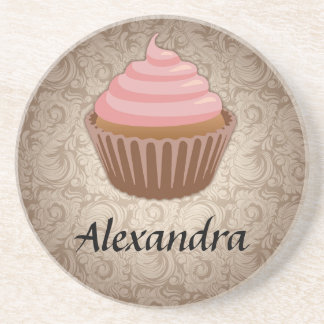 Soft Pink and Brown Cupcake, Personalized Keepsake Coaster