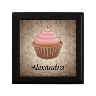 Soft Pink and Brown Cupcake, Personalized Keepsake Small Square Gift Box