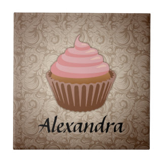 Soft Pink and Brown Cupcake, Personalized Keepsake Small Square Tile