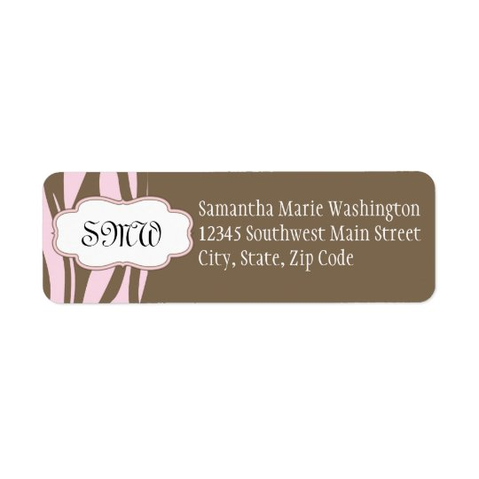 Soft Pink and Brown Monogram Frame Return Address Label