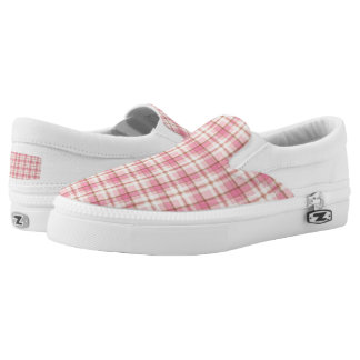 Soft Pink and Cream Plaid Slip On Sneakers