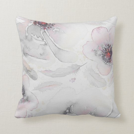 Soft Pink and Dusty Grey Vintage Floral Watercolor
