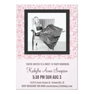 Soft Pink and Gray Sweet 16 Party 11 Cm X 16 Cm Invitation Card