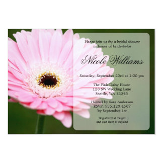 Soft Pink and Green Gerbera Daisy Bridal Shower Card