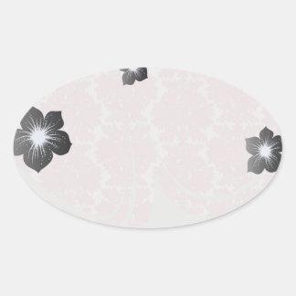 soft pink and white flourish damask pattern oval stickers