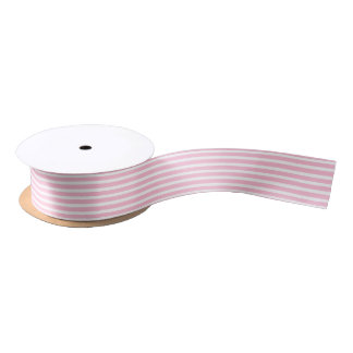 Soft Pink and White Stripes Ribbon Satin Ribbon