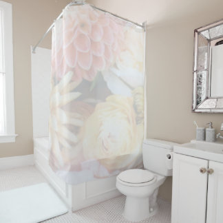 Soft Pink and Yellow Floral Shower Curtain