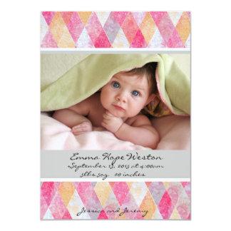 Soft Pink Argyle Birth Announcement