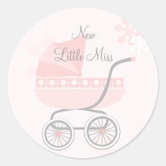 Soft Pink Baby Buggy Round Sticker