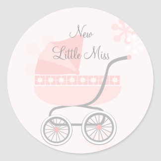 Soft Pink Baby Buggy Classic Round Sticker