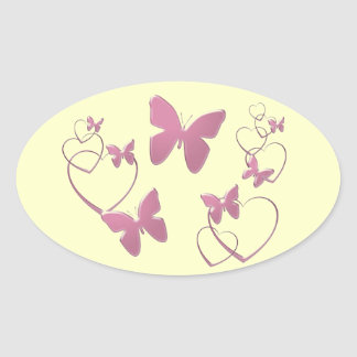 Soft pink butterflies and hearts oval sticker