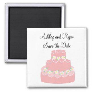 Soft Pink Cake Save the Date Magnets