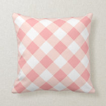 Soft Pink Checks Plaid Throw Pillow