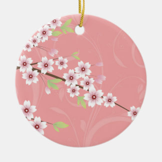 Soft Pink Cherry Blossom Christmas Ornament