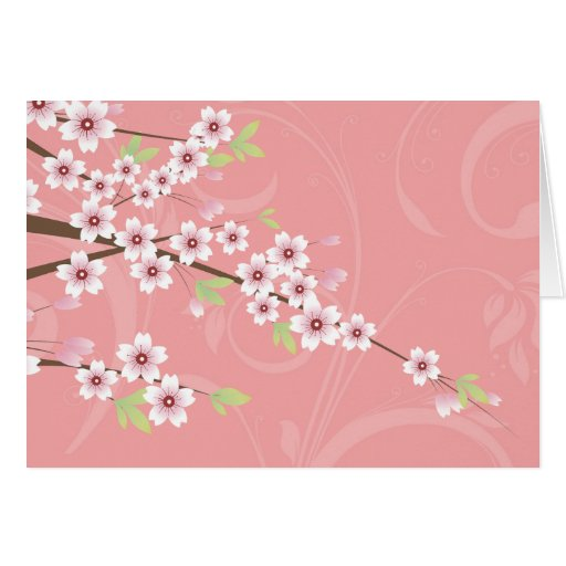 Soft Pink Cherry Blossom Greeting Card