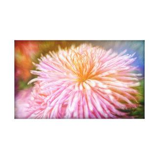 Soft pink Chrysanthemum flower artwork on canvas Stretched Canvas Print