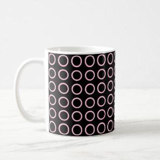 Soft Pink Circles Black Coffee Mug