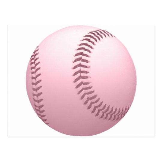 Soft Pink Coloured Baseball Postcard