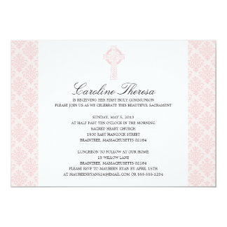 Soft Pink Damask Celtic Cross First Communion Card