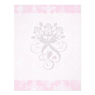 soft pink distressed damask pattern full color flyer